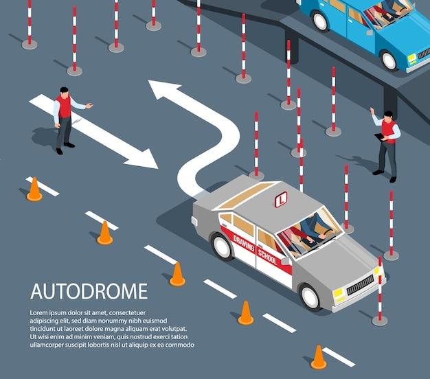 Izometryczny skład szkoły jazdy z ilustracją obszaru ćwiczeń napędu
