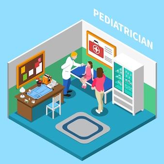 Izometryczny skład szpitalny z widokiem na wnętrze gabinetu pediatry w klinice z ludźmi i meblami