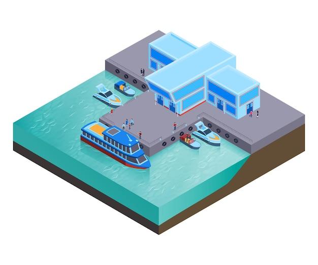 Izometryczny skład transportu wodnego z nowoczesnymi budynkami stacji rzecznej z łodziami w spoczynku i ilustracją ludzi,