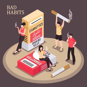 Izometryczny skład uzależnienia od palenia mężczyzn i kobiet z płonącym papierosem na ciemnym tle ilustracji