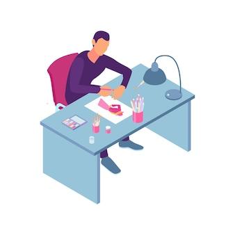 Izometryczny skład warsztatu krawieckiego z widokiem projektanta ubrań rysującego na kartce papieru na ilustracji stołu