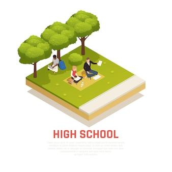 Izometryczny skład z ilustracją uczniów szkół średnich