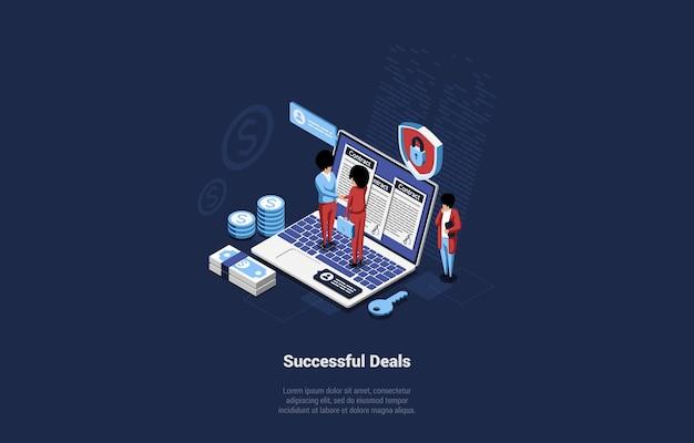 Izometryczny skład znaków biznesmenów, ściskając ręce, stojąc na dużym laptopie z dokumentami