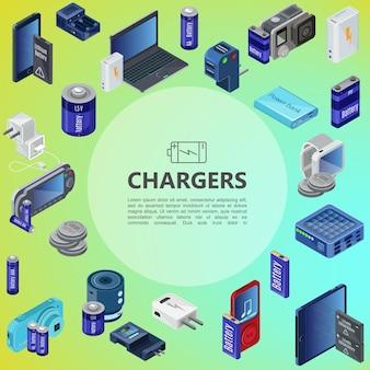 Izometryczny skład źródeł ładowania z powerbankami, przenośnymi ładowarkami, bateriami, wtyczkami i nowoczesnymi urządzeniami