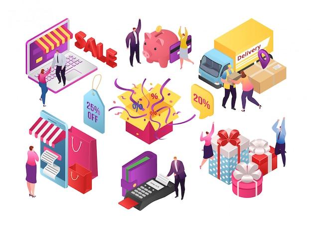 Izometryczny sklep internetowy ze smartfonami, mobilna sprzedaż internetowa dla ilustracji osób. klient kupuje w technologii sklepu, marketingu biznesowym. zakup handlowy z koncepcją koszyka.