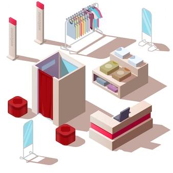 Izometryczny sklep mody w centrum handlowym