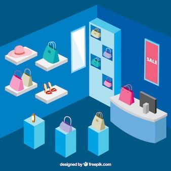 Izometryczny sklep obuwniczy z akcesoriami