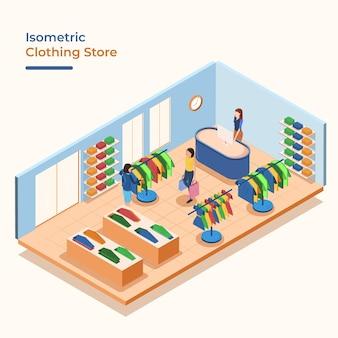 Izometryczny sklep odzieżowy z ludźmi
