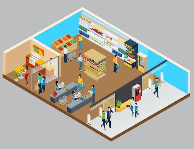 Izometryczny sklep spożywczy