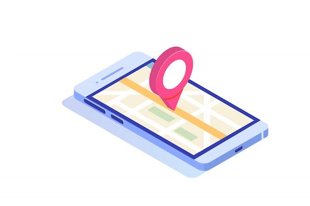 Izometryczny smartfon 3d z aplikacją mobilną gps. ilustracja.