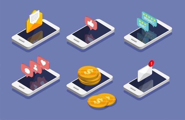 Izometryczny smartfon. e-mail, marketing e-mailowy, koncepcje reklamy internetowej. koncepcja przepływu pieniędzy, płatności online i bankowości. ikona powiadomień w mediach społecznościowych.