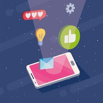 Izometryczny smartfon z ikonami mediów