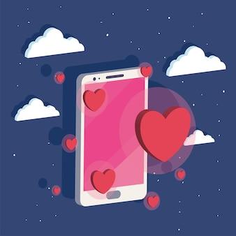 Izometryczny smartfon z medialnymi sercami