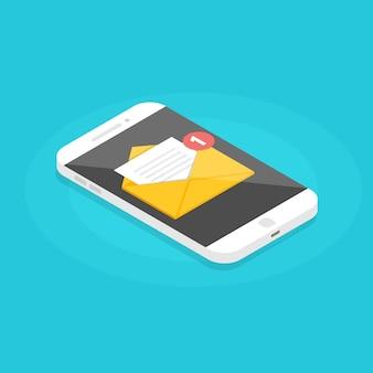 Izometryczny smartfon z powiadomieniem e-mail. uzyskaj koncepcję e-mail.