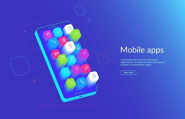 Izometryczny smartfon z różnymi aplikacjami wylatującymi z ekranu. ikony aplikacji mobilnych dla mediów społecznościowych, wiadomości i połączeń, map, pogody i inteligentnego domu. gradientowy dynamiczny projekt strony docelowej