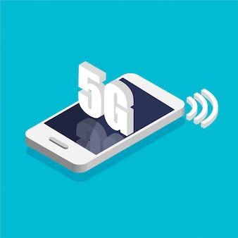 Izometryczny smartfon z szybką technologią 5g. telefon z symbolem sygnału internetowego na wyświetlaczu. ilustracji wektorowych.