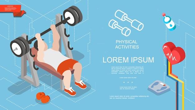 Izometryczny sport i koncepcja fitness z silnym mężczyzną podnoszącym sztangę w siłowni rękawice bokserskie skaluje ilustrację butelki z wodą