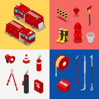 Izometryczny sprzęt strażacki z cysterną i hydrantem