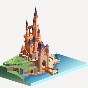 Izometryczny średniowieczny kamienny zamek
