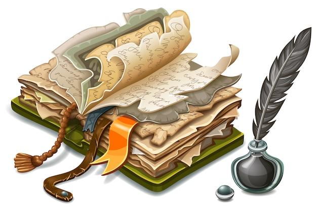 Izometryczny stara książka i atrament.
