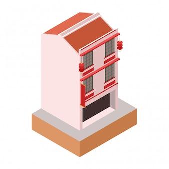 Izometryczny stary klasyczny kolonialny styl różowy budynek