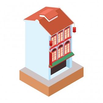 Izometryczny stary klasyczny niebieski budynek w stylu kolonialnym