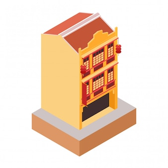 Izometryczny stary klasyczny styl kolonialny żółty budynek
