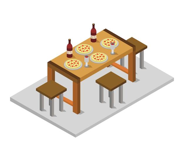 Izometryczny stół kuchenny