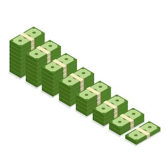 Izometryczny stos banknotów. ikona stos gotówki na białym tle. wzrost lub wzrost dolara.