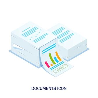 Izometryczny stos dokumentów z zatwierdzoną pieczęcią