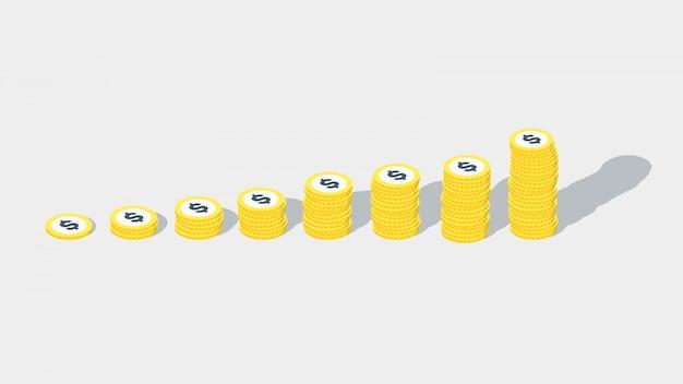 Izometryczny stos pieniędzy. wektor stos pieniędzy z złote monety dolara. zestaw monet izometryczny pieniądze