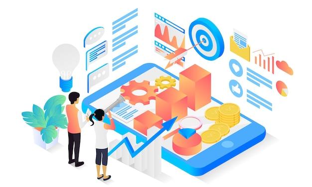 Izometryczny styl ilustracji strategii marketingowej z charakterem i na cel