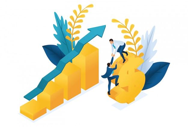 Izometryczny sukces inwestycji, przedsiębiorcy z powodzeniem inwestują pieniądze.