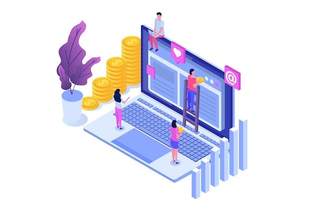 Izometryczny sukces w pracy zespołowej. konstruować projekt. budowanie biznesu w internecie.
