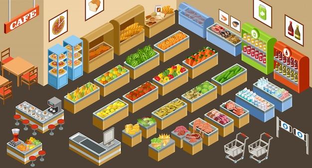 Izometryczny supermarket