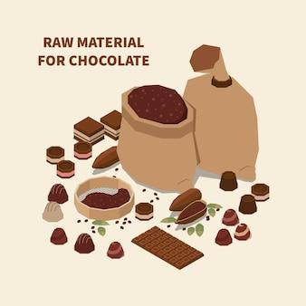 Izometryczny surowiec do ilustracji czekolady