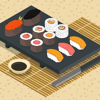 Izometryczny sushi illustraton