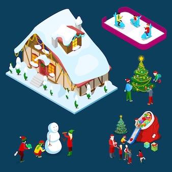 Izometryczny świąteczny ozdobiony dom z choinką, mikołajem, dziećmi i bałwanem. ilustracja