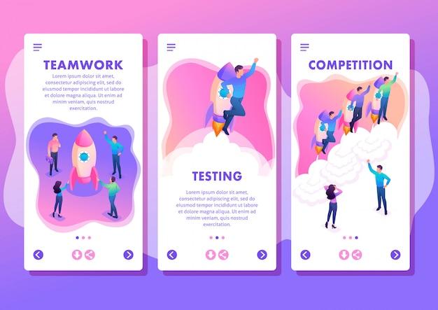 Izometryczny szablon aplikacji jasne pojęcie młodzi przedsiębiorcy konkurują o przywództwo, aplikacje na smartfony