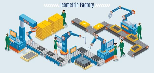 Izometryczny szablon fabryki przemysłowej z zautomatyzowanymi ramionami robotów linii montażowej i pracownikami monitorującymi taśmę przenośnika na białym tle
