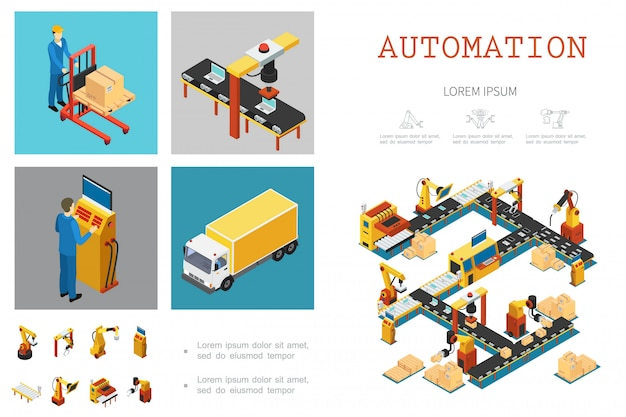 Izometryczny szablon fabryki przemysłowej ze zautomatyzowanymi pracownikami linii montażowej i mechanicznymi ramionami robotów