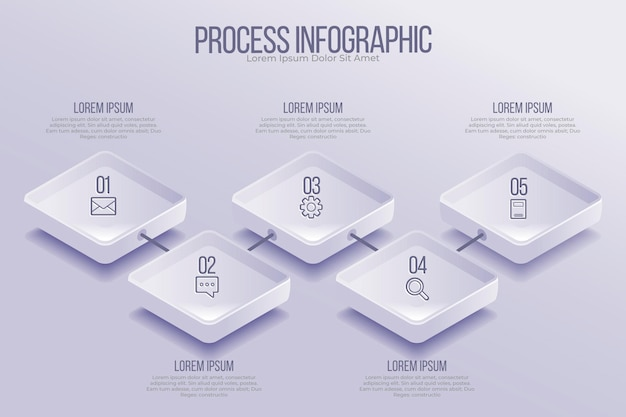 Izometryczny szablon infografiki procesu