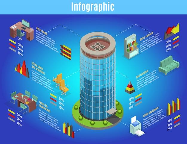 Izometryczny szablon infografiki wnętrza biura z centrum biznesowym meble biurka stoły krzesła wykresy wyposażenia regału na białym tle