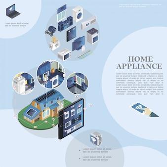 Izometryczny szablon inteligentnego domu z nowoczesnymi urządzeniami i urządzeniami gospodarstwa domowego oraz zdalnym sterowaniem urządzeniami gospodarstwa domowego z tabletu