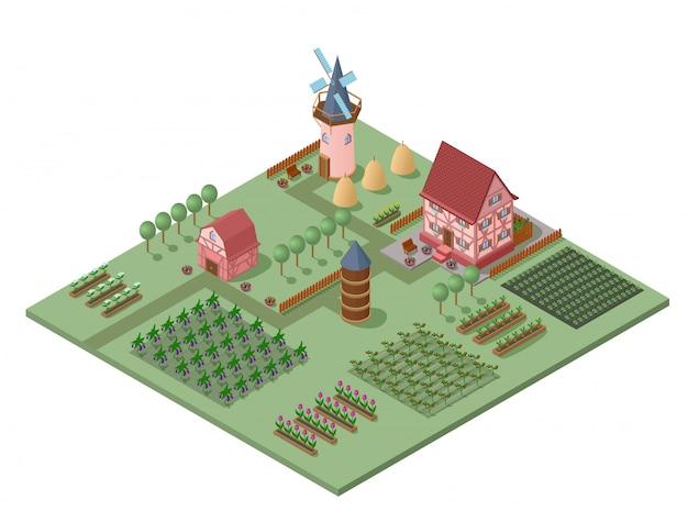 Izometryczny szablon krajobrazu rolniczego