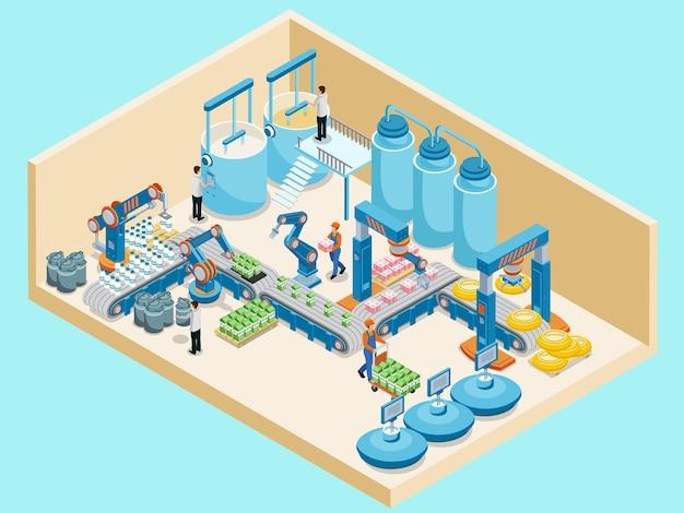 Izometryczny szablon mleczarni z automatycznymi kontenerami linii produkcyjnej pracowników do produkcji przetworów mlecznych na białym tle