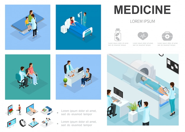 Izometryczny szablon opieki medycznej z pacjentami na oddziałach szpitalnych ludzie odwiedzają lekarzy procedura skanowania mri ikony medycyny cyfrowej