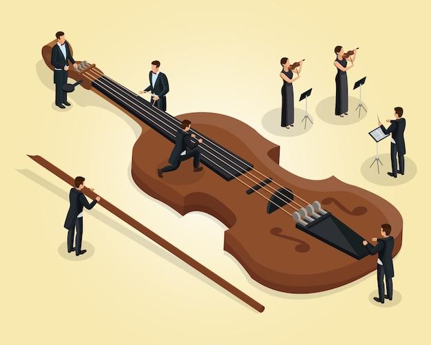 Izometryczny szablon orkiestry z muzykami dostroającymi skrzypce skrzypaczki i dyrygent na białym tle