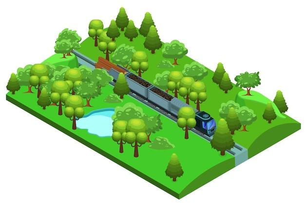 Izometryczny szablon pociągu towarowego