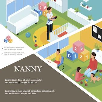 Izometryczny szablon pracy niani z opiekunką usypia dziecko, a niania bawi się z dziećmi w pokoju dziecka